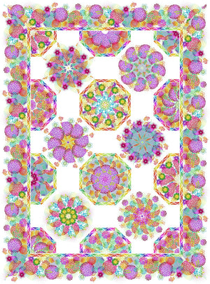 One Fabric Kaleidoscope Quilt Kit - Unusual Garden 11 White