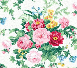 Julia's Garden By Deborah Edwards Large Floral White 21607-10.Priced per 25cm.