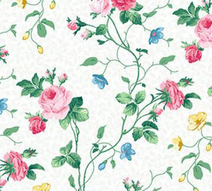 Julia's Garden By Deborah Edwards Small White Floral 21609-10.Priced per 25cm.