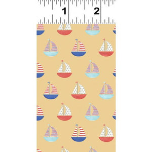 Clothworks - Sail Away Sailboats Gold.Priced per 25cm