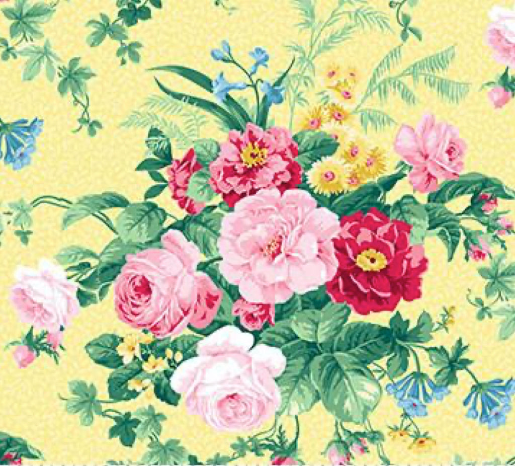 Julia's Garden By Deborah Edwards Large Floral Yellow 21607-51.Priced per 25cm.