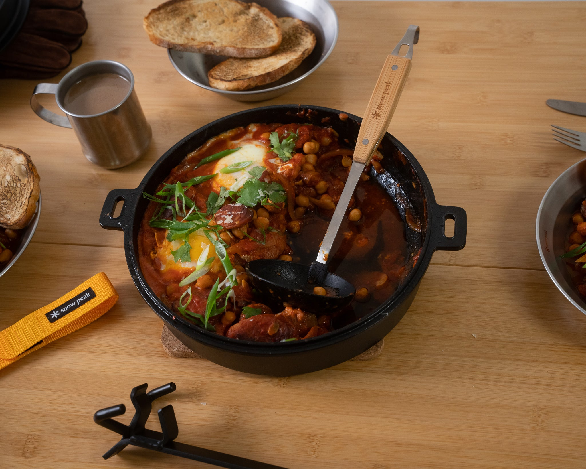 snow peak camp cooking recipe egg, chorizo and chickpea breakfast skillet