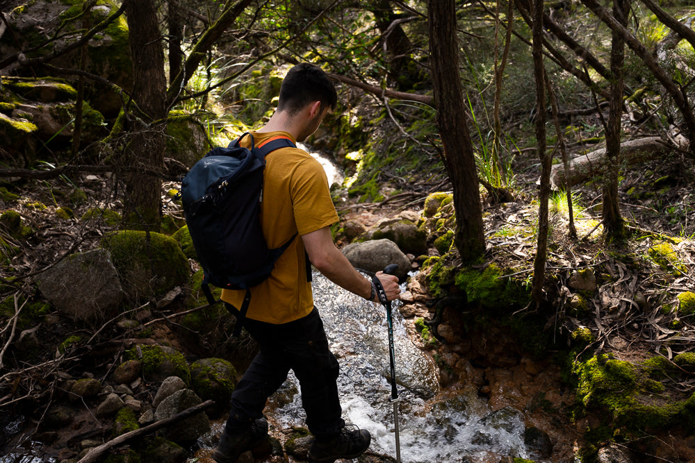 Crossing Ryans Creek, the same creek that comes down Blowering Cliffs turning into a waterfall