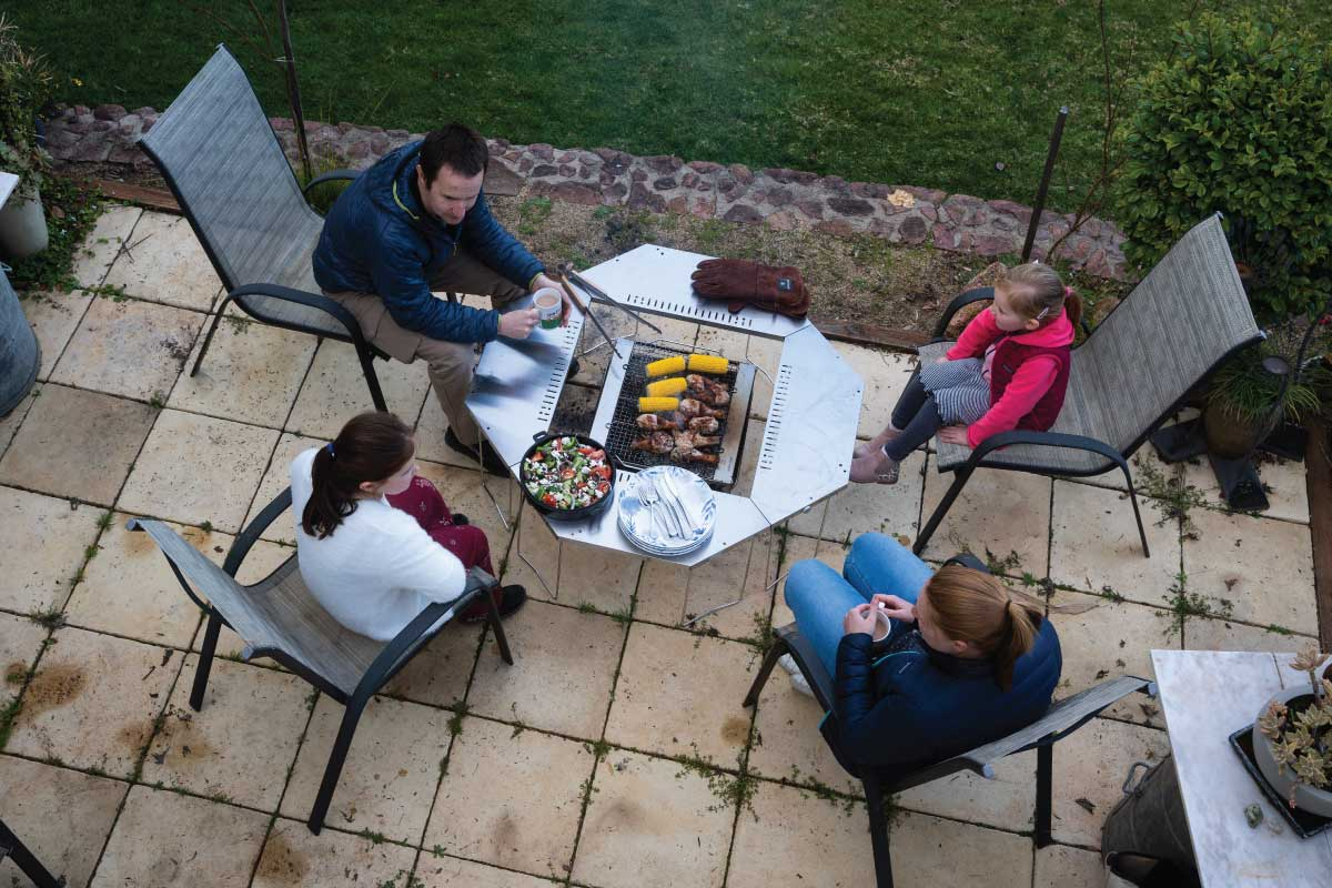Snow peak takibi fireplace and grill with jikaro fire ring table