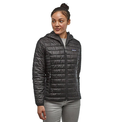 Patagonia Women's Nano Puff Insulated Hoody BLK - Model front