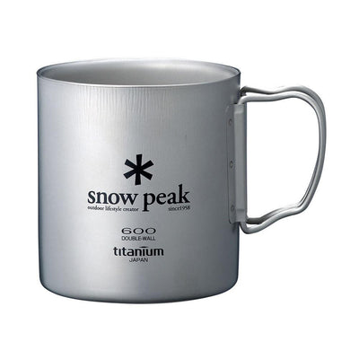 Snow Peak Titanium Double Wall Insulated Mug w/ Folding Handle 600ml