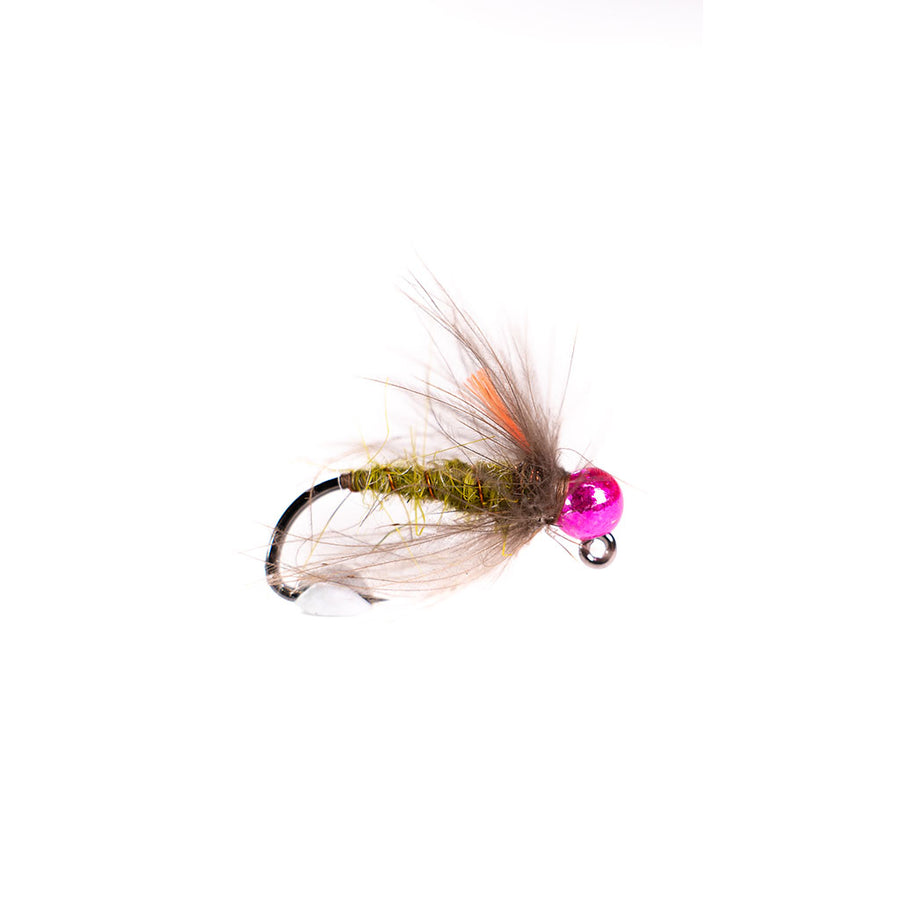 Category 3 Gummers Carpet Caddis - Tungsten Bead Nymph - pink bead
