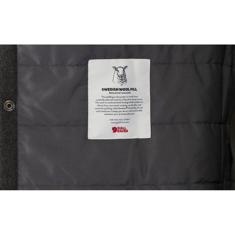 Fjallraven Men's Canada Wool Padded Jacket Black - Label