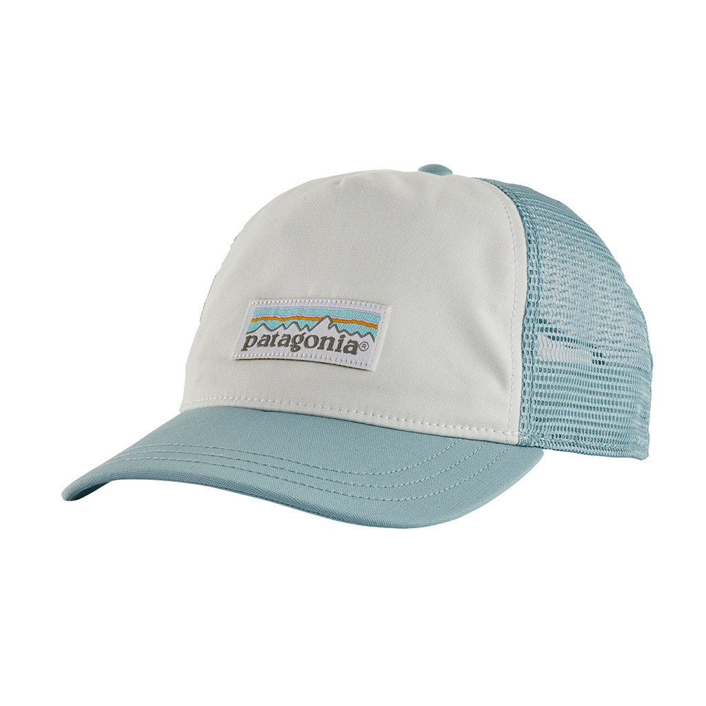 Patagonia Women's Pastel P-6 Label Layback Trucker Hat - White w/Big Sky Blue