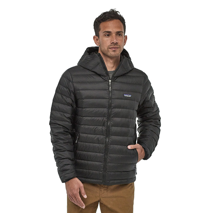 Patagonia Men's Down Insulated Sweater Hoody BLK - Model Front