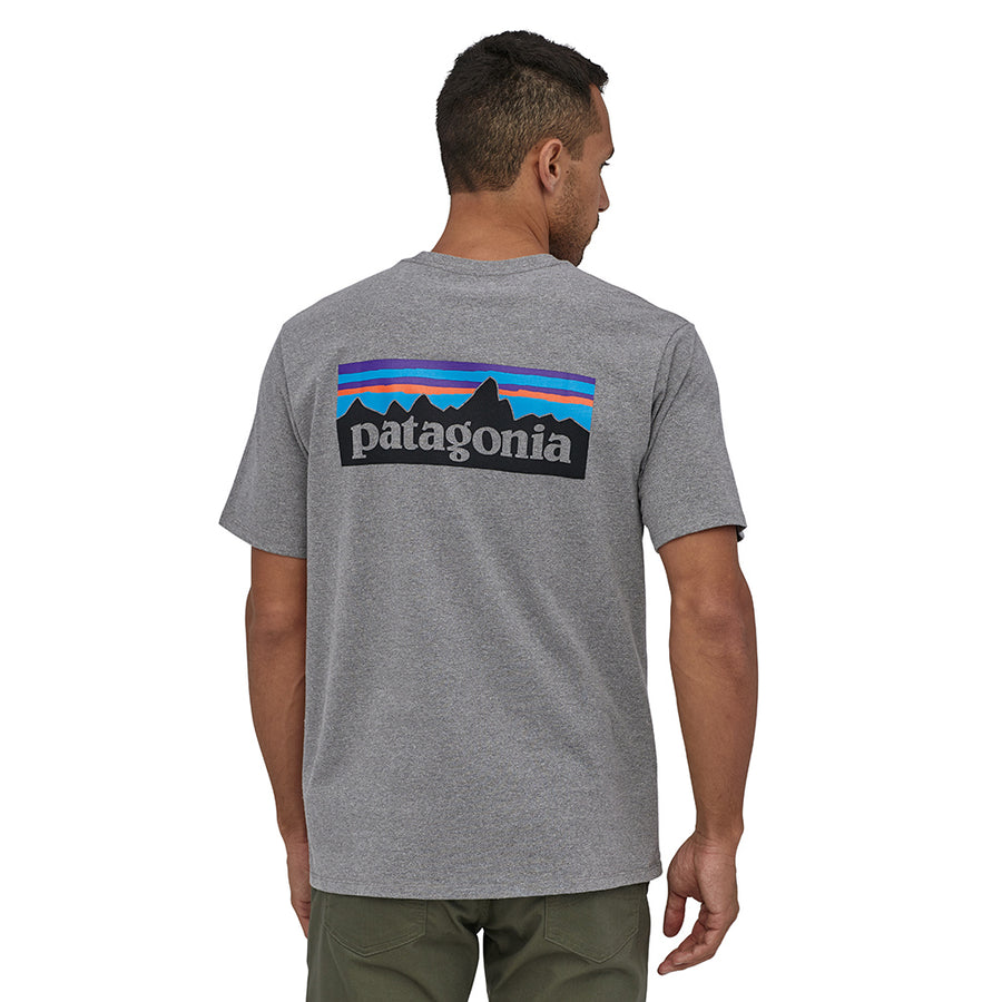 Patagonia Men's P-6 Logo Responsibili-Tee - Gravel Heather Model 2