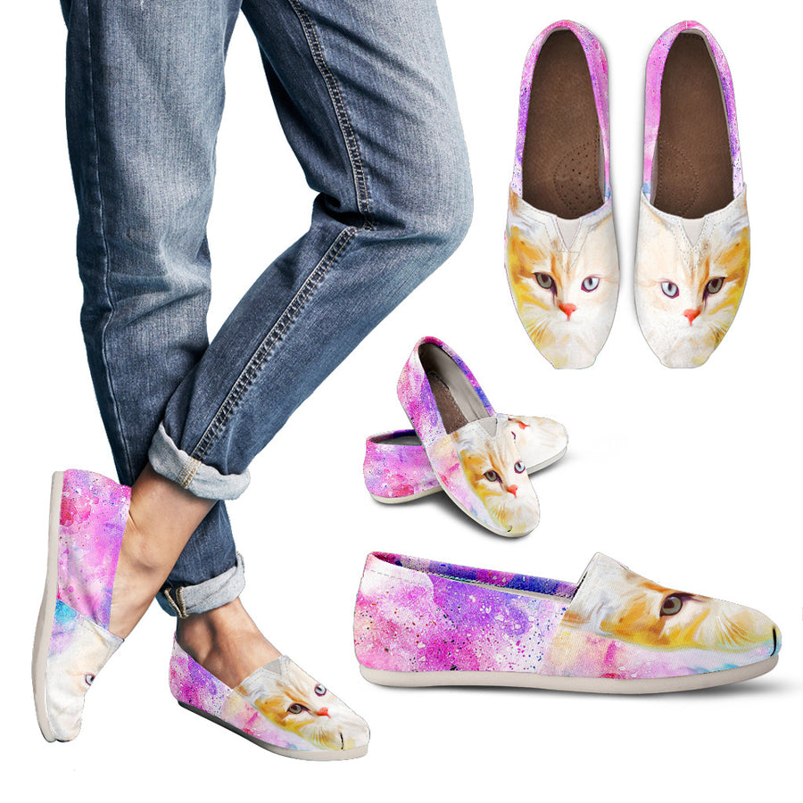 Women's Aquarelle Cuddly Cat Relaxed Comfy Shoes