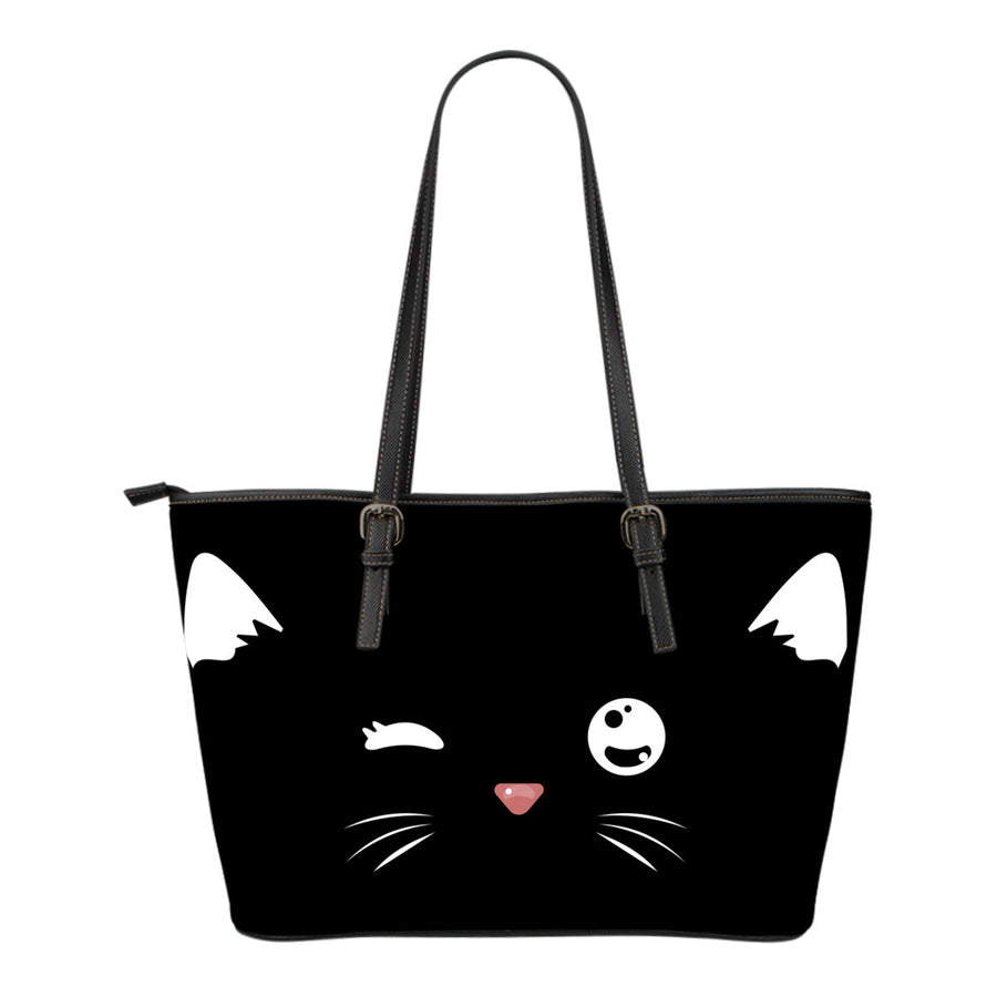 Sneaky CAT Small Leather Tote Bag
