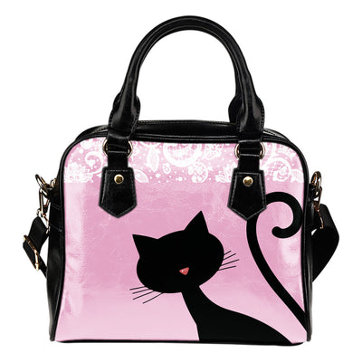 Curious Cat Leather Shoulder Hand Bag