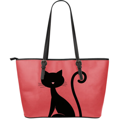 Curious Cat Leather Large Tote Bag