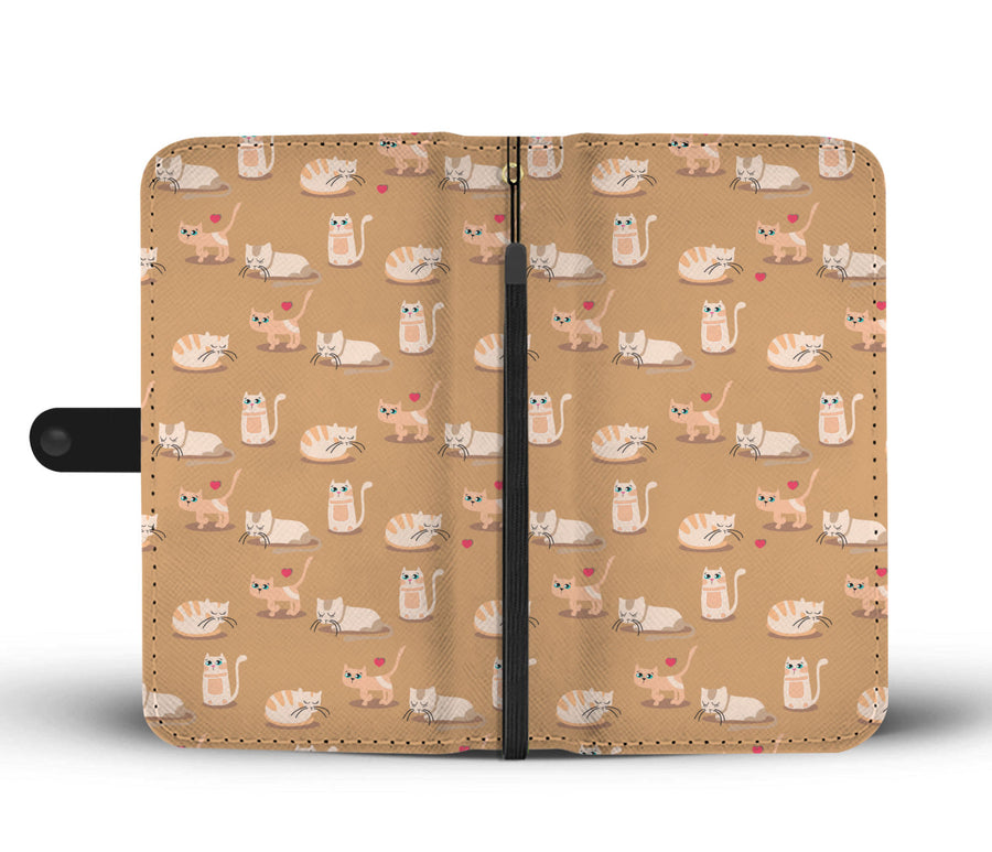 Kitty Romance Beige Cats Wallet RFID Blocking Phone Case