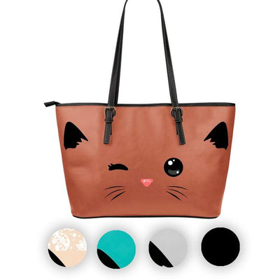 Sneaky Cat Large Leather Tote Bag