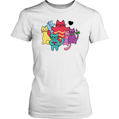 Vibrant Cats Custom T-Shirt heart