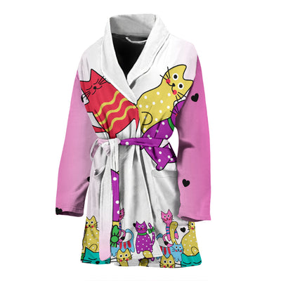 Vibrant Cats Pink Sleeves Womens Bath Robe