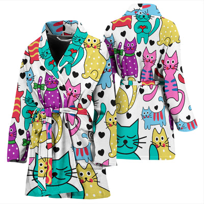 Vibrant Cats Collage Women's Bath Robe