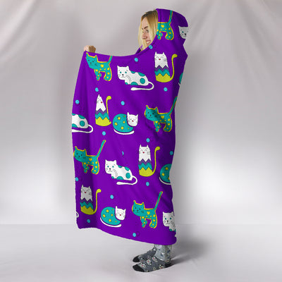 Purple Cats Hooded Blanket
