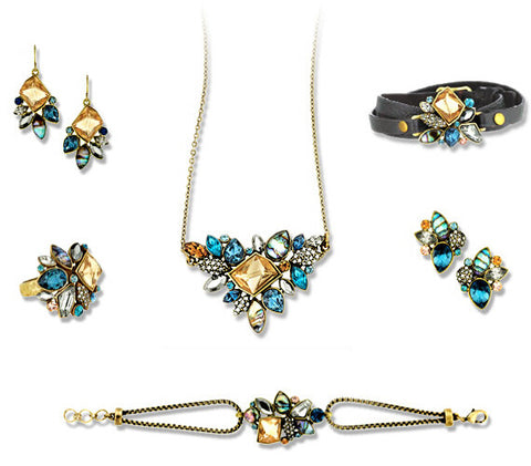 Retro Style Statement Necklace Earrings Bracelet Ring Jewelry Set