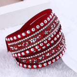 Retro Vintage Punk Geometric  6 Layer Wrap Bracelets Slake Leather Bracelets With Crystals