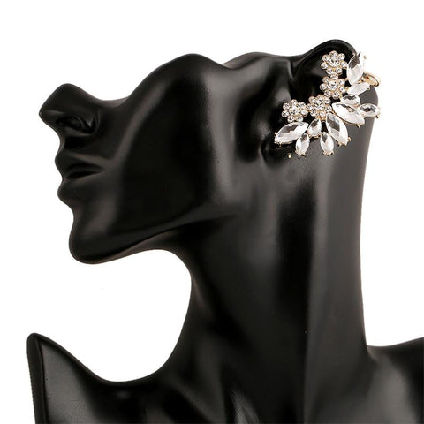 Crystal- Light Flower Cuff Long Earrings