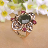 Vintage Flower Turkish Ring Emerald