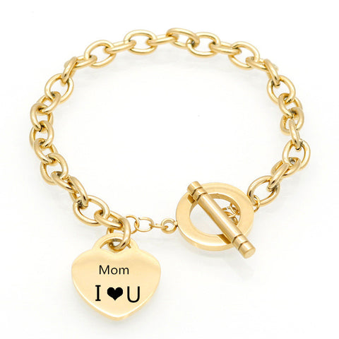 Custom Engraved Personalized Message Name Tailored Heart Chain-Bracelet