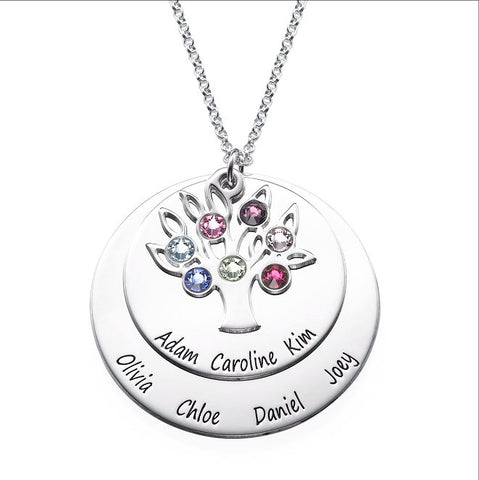Personalized Family Tree Necklace with Birthstones