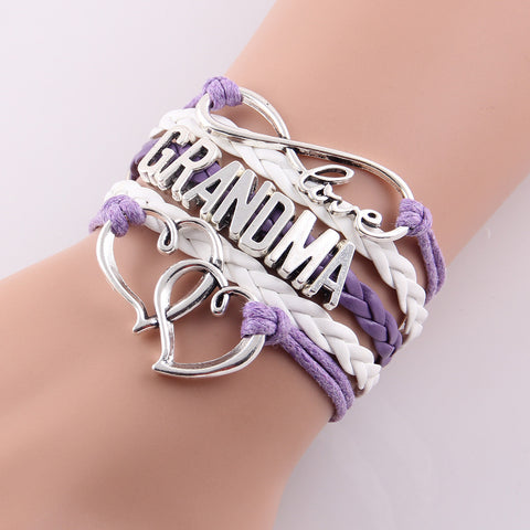 Infinity Love Grandma and Mom Bracelet with Hearts or Toes