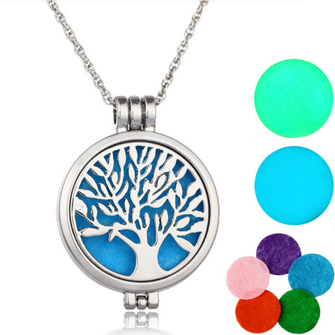 Aromatherapy Necklace Silver Plated with Tree of Life Pendant Essential Oils Diffuser Necklace with 7 Color Felt Pads