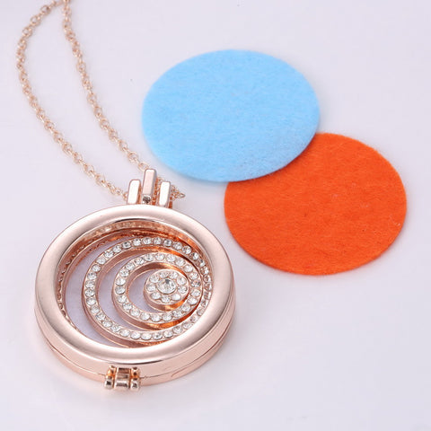 Coin Disc Crystal swarovki cubic zirconia My disc Coin Aromatherapy Necklace Essential Oil Diffuser Necklace Natural Healing