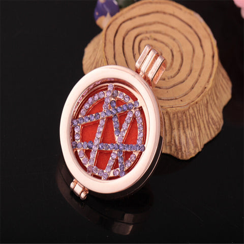 Tree of Life Swarovski Zirconia Aromatherapy essential oils Diffuser Necklace Aromatherapy Necklace with Pads