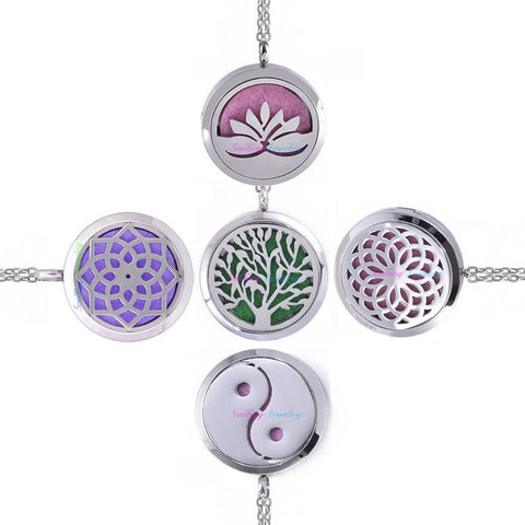 Stainless Steel Locket Necklace Dream Catcher Sunflower Pendant Aromatherapy Essential Oil Diffuser Necklace