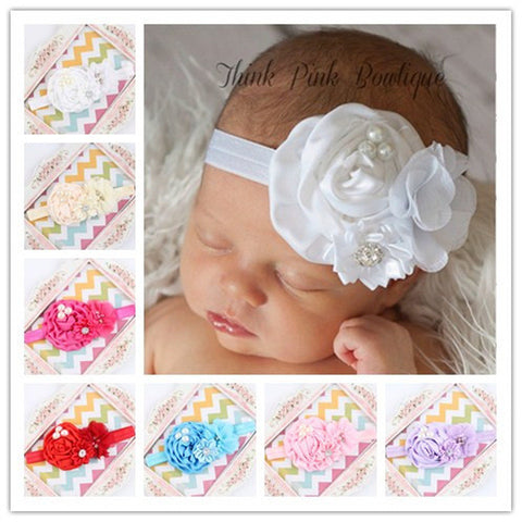 Satin Rose Flowers Big Head band hair band Hairband Headband for baby infant toddler girl Headwear