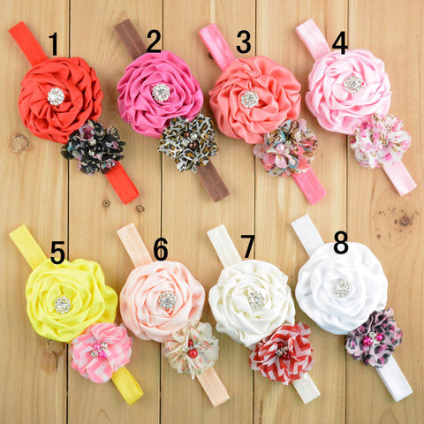 5 Silk and Satin Hair band head band Flower Rose Hairband for kids children toddler little girl baby