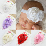 Satin Hair band head band headband Flower Pearl Toddler baby girl Hair Accessory Satin