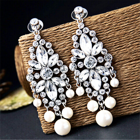Bohemia Crystal Flowers Drop Earrings with pearls
