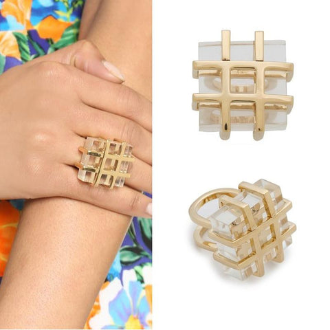 18k Gold Plated Geometric White Faux Stone Ring