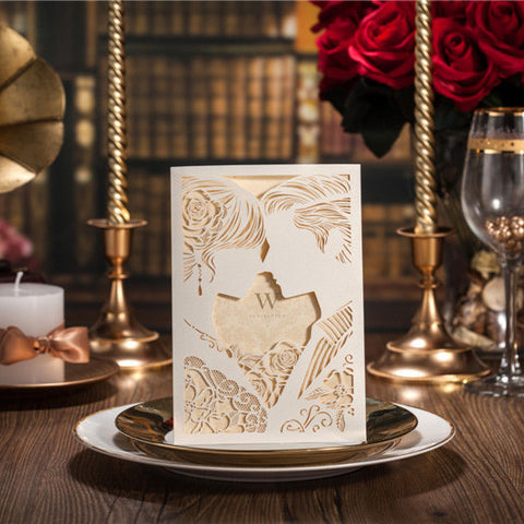 10pcs Laser Cut Wedding Party Invitation Cards