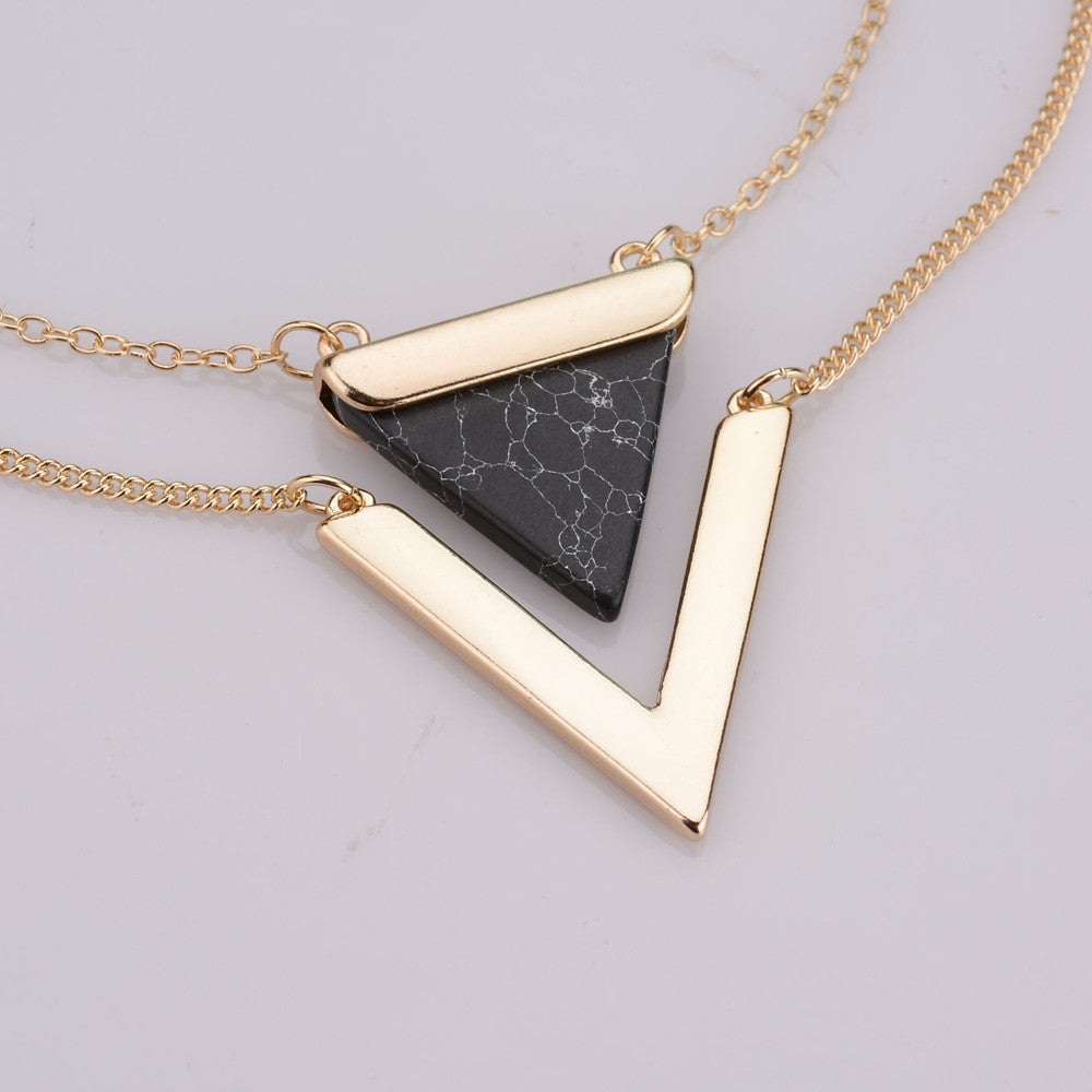 Marble Stone Jewelry : Gold plated punk necklaces geometric triangle faux marble