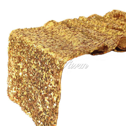 "12""x108"" Gold Silver Sequin Table Runner Sparkly Bling for Wedding Party Decoration"