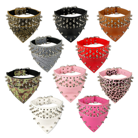 "2"" Wide Bandana Style Studded Leather Pet Dog Collar 4 Sizes 6 Colors"