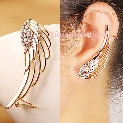 Angel Wing Rhinestone Earrings