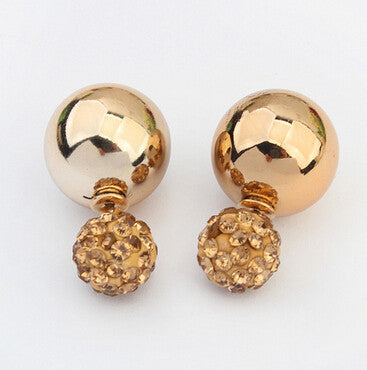 Crystal Double-Sphere Stud Earrings