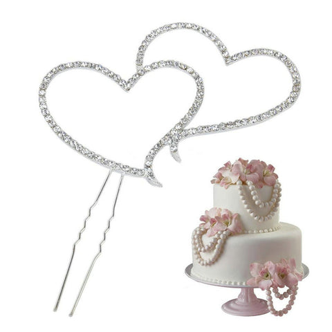 Diamante Rhinestone Shiny Double Love Heart Cake Topper
