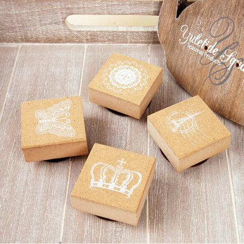 Creative DIY Lovely Mini Crown Butterfly Lace Tower Shape Wooden Stamp + Inkpad for Decorations