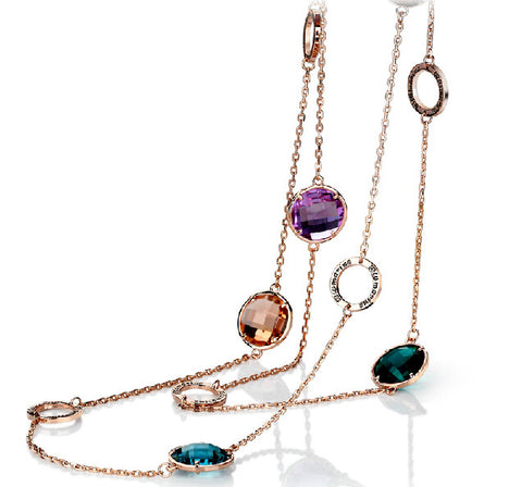 Gold plated Austria crystal long necklace - multicolor
